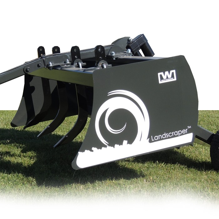 "The Landscraper™ is equipped with a durable 6"" high carbon steel cutting edge.  The sides are reinforced to make this unit a perfect match for commercial landscaping, farm work, snow removal, and other operations."